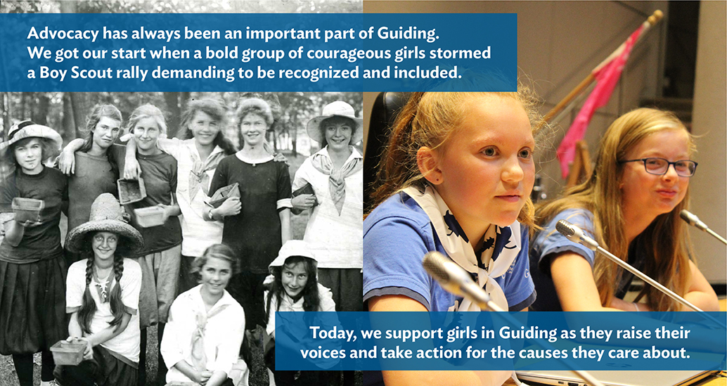 Historical image: Advocacy has always been an important part of Guiding. We got our start when a bold group of courageous girls stormed a Boy Scout rally demanding to be recognized and included.