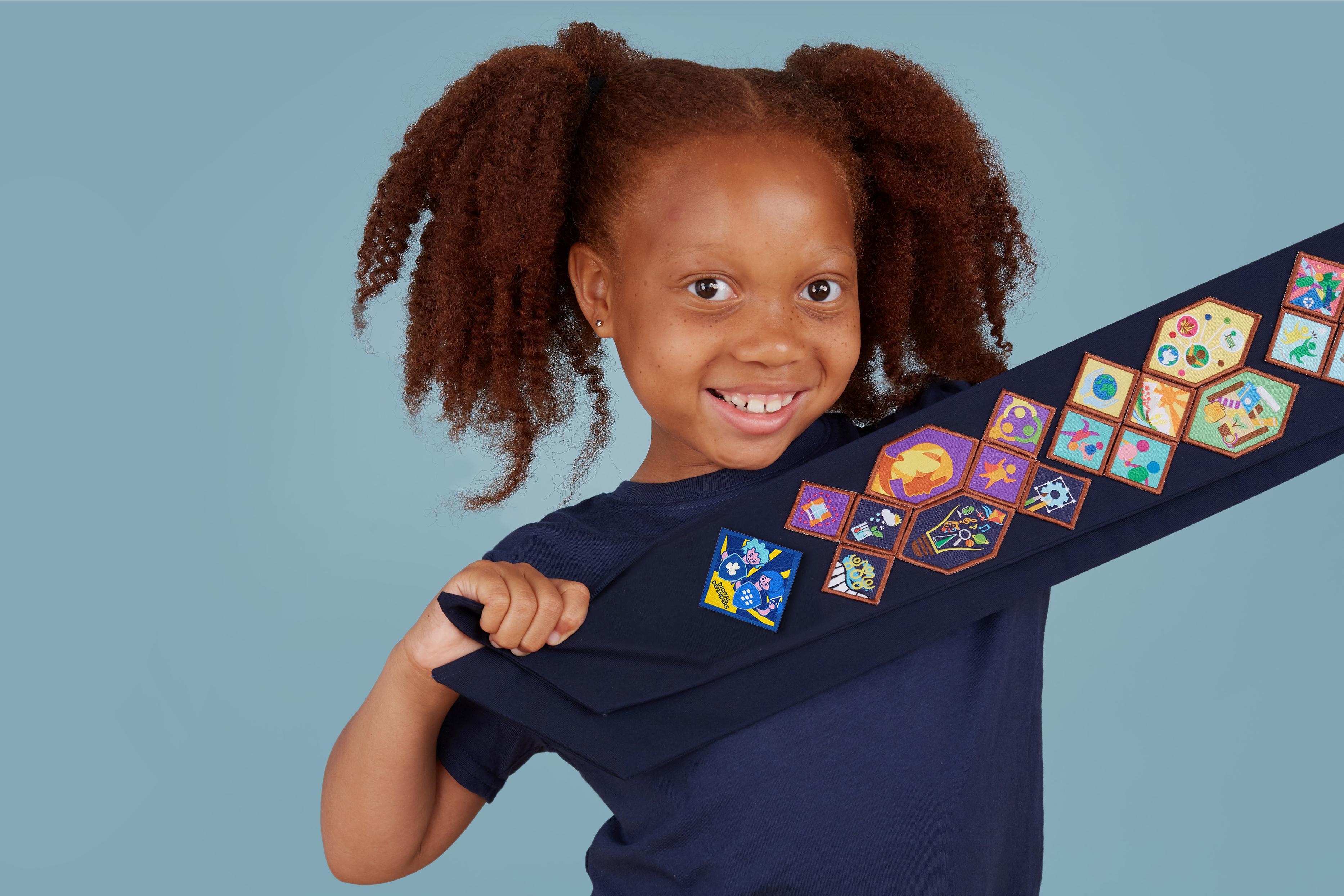 Girl Guide with Digital Defenders Badge