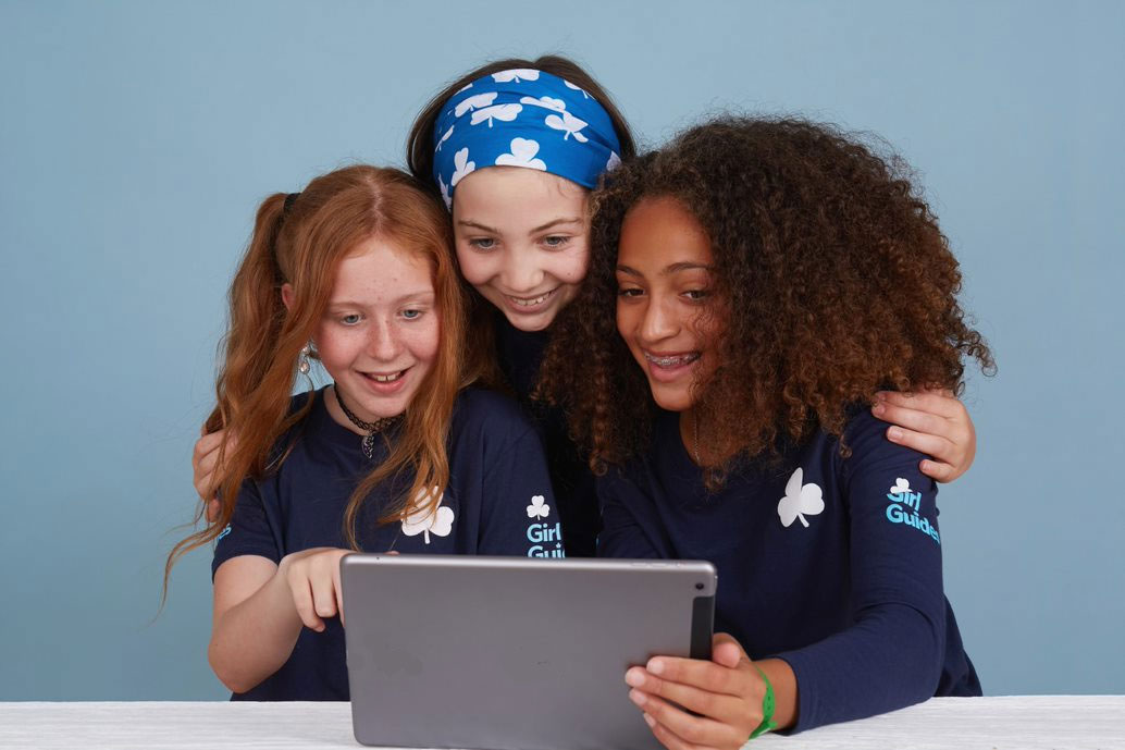 Girl Guides with Tablet